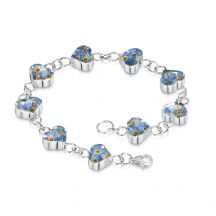 Remembrance Bracelet, Forget Me Not Collection Heart (Optional Engraving)